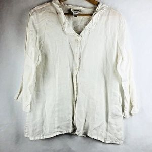 Talbots White Sheer Button Front Blouse